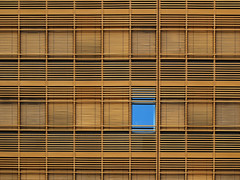 Only one blue Window (Batikart) Tags: architektur architecture gebäude building office glas glass facade façade fassade contemporary stadt city downtown citycenter modern house fenster windows squares geometry linien lines venetiansblind venetians louveredblinds jalousie abstract sky himmel reflection spiegelung muster patterns repetition wall wand creativity variation sunny day outdoors urban contrasts patchwork citylife august sommer summer stuttgart badenwürttemberg deutschland germany europa europe swabian geotagged viewonblack canon g11 canonpowershotg11 ursula sander batikart 100faves 200faves 300faves 400faves