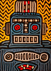 robot #3 (Lisa Brawn) Tags: wood portrait calgary art illustration painting design graphics artist folkart canadian carving popart alberta woodcut woodcarving woodblock brawn reclaimed salvaged upcycled lisabrawn