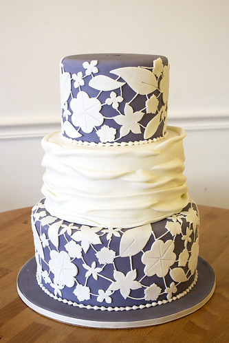 Purple White Cutouts Wedding Cake
