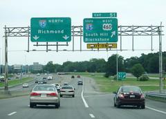I-95/I-85 split (peachy92) Tags: vacation usa virginia us unitedstates unitedstatesofamerica petersburg va roadsign roadsigns i95 i85 2015 petersburgva petersburgvirginia roadgeek biggreensign us460 vacation2015 fujifilmfinepixxp200