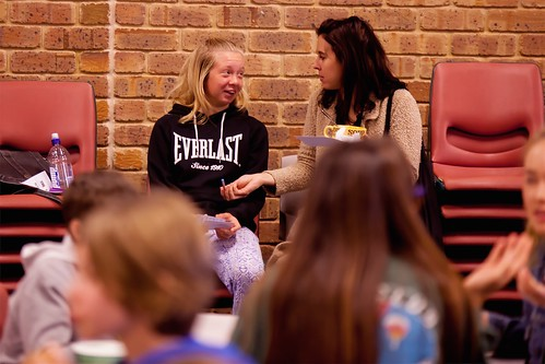 Kelly and Tahlia talking over soup TEDxYouth@Bunbury