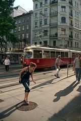 (horilyc) Tags: canonef5018 city трамвай дом улица вечер цвет дерево тень canoneos33 люк красный человек город окно film tramway people street shadow киоск colour evening 2009 плёнка photography analog analogue fromipernity ipernity