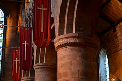 Wide Norman columns and banners (James O'Hanlon) Tags: chester cheshire john baptist johnthebaptist church cathedral ruins norman medieval effigy stained glass chapel saint st