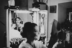 Melanie's Morning (Yuliya Bahr) Tags: mirror reflection smile happy woman girl wedding bride bridalmorning gettingready morning beauty documentary portrait people weddingreport weddingphotographyitaly hochzeitsfotografitalien hochzeitsfotografbolzano hochzeitsfotografmerano hochzeitsfotografbozen hochzeitsfotografbrixen hochzeitsfotografbayern hochzeitsfotografalm grain filmgrain bw monochrome blackwhite