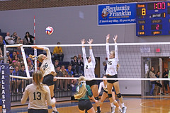 IMG_8152 (SJH Foto) Tags: girls volleyball high school york delone catholic team teen teenager net battle spike block action shot jump midair