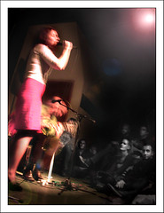 Elysian Fields @ The Stone - NYC, February 2006 (Ebanator) Tags: elysianfields jennifercharles orenbloedow johnzorn thestone thestonenyc nyc manhattan les newyorkcity livemusic musicians rockmusic psychedelic psychedelia singer guitarist eclectic nikon995 nikoncoolpix995