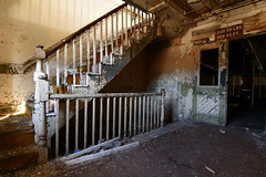 up stairs (bobsnikond200) Tags: stair stairs staircase stairwell railing texture abandoned decay mill factory forgotten industrial dirty baluster handrail natural light dirt alley door doorway doorframe paint peal pealing flake flaking chip chipping carpet rug floor