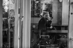 Street portrait - the woman with the latte make-up (Daz Smith) Tags: dazsmith fujixt10 fuji xt10 andwhite bath city streetphotography people candid canon portrait citylife thecity urban streets uk monochrome blancoynegro blackandwhite mono coffee latte starbucks window reflections woman makeup