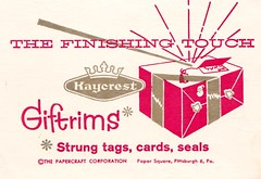 Vintage Kaycrest Gift Trims Product Insert (hmdavid) Tags: vintage paper papercraft kaycrest gift trims product insert midcentury art illustration christmas tags seals 1950s present package
