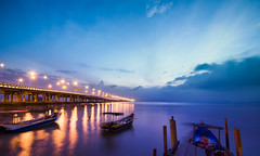 Breaking dawn (bdrc) Tags: asdgraphy sunrise dawn morning landscape penang bridge island mainland sky cloud blue jetty malaysia long exposure blending boat ship sony a6000 tokina 1116 ultrawide athabasca travel water