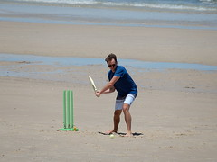 Green Wicket (mikecogh) Tags: beach cricket wicket plastic green batsman action henleybeach