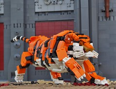 The Tiger (W. Navarre) Tags: lego tiger arena gladiator roman movie bas architecture scene all toorch whiskers blood gore chain tail orange white black