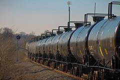 Ethanol Exiting the Siding (txrailfan) Tags: unit ethanol tankcars millican texas