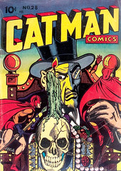 Catman Comics #28 (1945), cover by L. B. Cole (Tom Simpson) Tags: catmancomics 1945 cover lbcole comics comicbook illustration skull vintage art 1940s magician catman