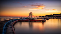 Saturday morning sunrise - Eastern Beach, Geelong, Victoria, Australia (Chas56) Tags: geelong easternbeach victoria australia beach water waterfront sea seaside sunrise longexposure longexposurephotography ndfilter canon canon5dmkiii colour color structure jetty pier reflection reflections baordwalk abigfave dawn