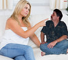 Disagreement on the couch (iggy62pop2) Tags: people woman man sexy female breasts pretty finger babe couch tiny blonde wife upskirt comparison milf height giantess tallwoman shrinkingman minigiantess