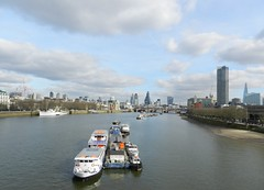 London Skyscrapers from Waterloo Bridge, London, Feb 2016 (allanmaciver) Tags: waterloo bridge london skyscapers tower buildings boats cruiser thames river blue sky clouds city england capital allanmaciver