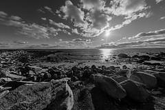 December day at the coast (WilliamND4) Tags: coast blackandwhite blackwhite nikon fullframe d610 rocks sky water ocean clouds sun misquamicut beach