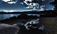 Earth & Sky (Nektaria Tzani) Tags: sky night sea water reflection clouds crete greece blue