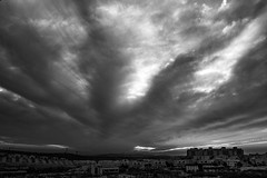 End of Days (Ivona & Eli) Tags: blackandwhite monochrome houses sunset clouds cityscape town middleeast israel modiin