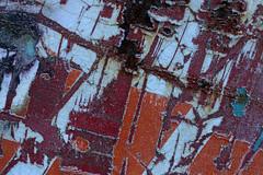 Abstract (gripspix (OFF)) Tags: 20161208 decay zerfall ravagesoftime zahnderzeit broken kaputt outofuse ausergebrauch container worn sticker scratched zerkratzt aufkleber cracks risse lostinformation informationsverlust colorful bunt rust rost tin blech iron eisen abstract abstrakt texture textur frost raureif