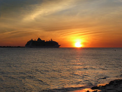 A Brilliant Departure - Fort Desoto Park - Florida (TropicViking) Tags: orange halloween gulf beach sunset tampa florida fort egmont cruiseship brillianceoftheseas portoftampa gulfofmexico gulfsunset fortdesotopark egmontkey etheridge melissaetheridge