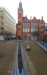 The Ikon Gallery and Oozells Square Birmingham (metrogogo) Tags: theikongallery oozellsstreet oozellssquare birmingham artgallery neogothic oldschool reflections reflected redbrick brindleyplace england greatbritain waterfeature birminghamuk 1877