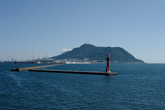 Lighthouse and Mountain(灯台と山) (daigo harada(原田 大吾)) Tags: lighthouse mountain pier sea 灯台 桟橋 山