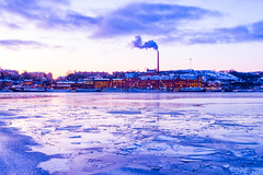 The canal (Masa_N) Tags: canal morning sweden stockholm cityscape winter factoryboats ice