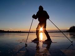 Nordic Skating… (deanspic) Tags: nordicskating wildskating skating me selfie ice hooplebay sunset silhouette sun sundog profile winter g3x