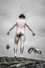 The things you carry with you (Ferdinand Bart Alst - Pixel Your Soul Photography) Tags: portrait sky man sexy male men art ass norway rock stone dark naked nude skull weird iceland model sheep butt fine odd ferdinand bowlerhat pixelyoursoulphotography pixelyoursoulcom fredbartalst