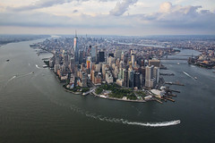 A beautiful day to be out on the water... (gimmeocean) Tags: nyc newyorkcity ny newyork manhattan batterypark eastriver hudsonriver lowermanhattan newyorkny freedomtower helicopterview 1wtc