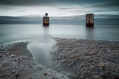 Skateraw Solstice (24/50) (Stuart Stevenson) Tags: uk longexposure sea seascape photography scotland structures blues wideangle summersolstice northeastcoast twotowers clydevalley skateraw tornesspoint tornessnuclearpowerstation stuartstevenson wwwzerogravitymeuk