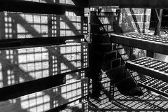 Schattenquadrate (Bearbeitungstrupp) Tags: wood shadow bw metal stone wall stairs square bricks hamburg treppe material holz metall stein rectangle schatten mauer iphone quadrat veloso rechteck