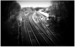 (Riik@mctr) Tags: styal line railway south manchester north east cheshire junction piccadilly wilmslow spur airport egcc frieght train nokia n95 8gb fone cell phone route blackandwhite monochrome surreal texture