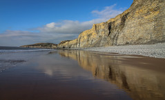 Coast Reflections (Andy.Gocher) Tags: andygocher canon100d canon1018mm europe uk wales southwales southerndown dunravenbay treathmawr beach coast coastline reflections reflection clouds water bluesky