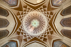 Bagh-e Dolat Abad (damonlynch) Tags: dolatabadgarden iran iranian islam middleeast people persian places yazd yazdprovince building ceiling indoors inside interior person privategarden publicgarden religion stainedglasswindow windows