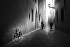Decisioni (Soloross) Tags: blackandwhite street people light florence italy concept city architecture buildings walk bicycle shadows soloross biancoenero strada città luce ombre edifici art artistic persone bicicletta