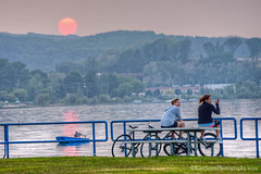 Open Space ... boating, bikes and beauty (Ken Scott) Tags: girls sunset usa sun boat spring dusk michigan may bikes lakemichigan greatlakes openspace traversecity dinghy freshwater leelanau 2015 45thparallel grandtraversecounty picniktable fhdr kenscottphotography kenscottphotographycom