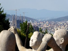 Spain - Dancers with Gaudi's Sagrada Familia in the distance (ashabot) Tags: travel spain statues gaudi sagradafamilia iberianpeninsula worldheritagesites worldcities