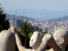 Spain - Dancers with Gaudi's Sagrada Familia in the distance (ashabot) Tags: travel spain statues gaudi sagradafamilia iberianpeninsula worldheritagesites worldcities