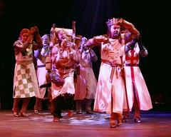 """John Scherer as Sir Robin (left), Andy Taylor (center) as Patsy and Gary Beach as King Arthur in the 2010 Music Circus premiere of the Tony Award-winning Best Musical """"Monty Python's Spamalot"""" at the Wells Fargo Pavilion, July 9-18.  Photo by Charr Crail."""
