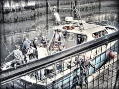 Fishermens charter return... (ocean rain) Tags: summer water nikon fishermen gimp pointshoot selectivecolour hdrtonemapping hartlepoolmarina marinalock picmonkey