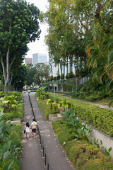 Greenway pedestrian path leading from tunnel beneath busy Neil Road (Joyce Pinsker) Tags: singapore 2015 pedestrianwalkway