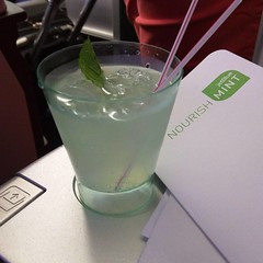 A minty drink to start off the Jetblue Mint Class experience.