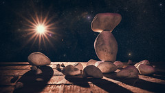 Project 366 - 356/366: Life on Mars (sdejongh) Tags: balancing composition deepspace extraterrestrial galaxy imaginary landscape manutopic mars monument rock shadows space stars stones sun