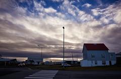 Cloudy Skies over Keflavík (bacon.dumpling) Tags: keflavík iceland cloud cloudy crosswalk dusk house landscape nikond750 nopeople nobody outdoor road sigma24mmf14dghsmart sky