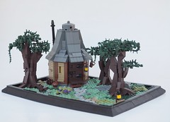 The Hermit's Abode (W. Navarre) Tags: lego ccc woodland hideaway hut hovel house trees tree path stone tudor chimney light yellow flesh