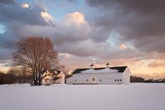 White Winter Barn (Mike McLaughlin Photo) Tags: barn farm horsefarm sunset clouds winter snow mattituck newsuffolk longisland northfork suffolkcounty newyork