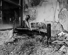 I've been dying for a while now (sadandbeautiful (Sarah)) Tags: me woman female self selfportrait abandoned urbex bw abandonedhospital